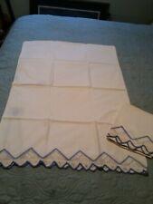 Pair regular pillow size pillowcases Blue and White Edge trim Crochet pr gift