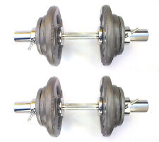40KG Olympic Dumbbells 2 x 20kg Set, Tri-Grip Iron Weight Disc Plates, Springs