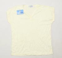 Basic Essentials Womens Size 12-14 Cream Lightweight T-Shirt (Regular)