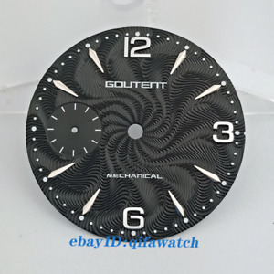 36.8mm watch dial silver/rose gold marks fit eta 6497 seagull movement