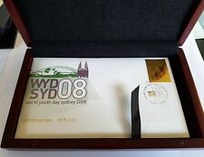 2008 WORLD YOUTH DAY LIMITED EDITION GOLD PLATED STAMP  FIRST DAY COVER IN BOX