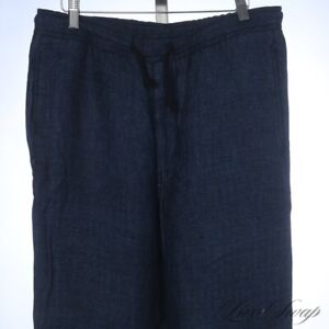 #1 MENSWEAR LNWT Eidos Napoli 100% Linen Indigo Wash Herringbone Lounge Pants 30