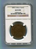 South Africa Zar Ngc Certified 1898 Kruger Penny Au 55 Bn Coin