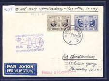 42628) KLM FF Amsterdam - Houston USA 3.9.57 feeder mail card Belgien kl.Macke