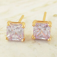 Classic,Lovely 9K Solid Gold Filled Purple CZ Square Stud Earrings,Z1625