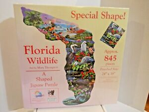 New Florida Wildlife Shape Puzzle By Mary Thompson Aprox 845 piece jigsaw puzzle