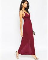 Asos Burgundy Triangle Bar Spaghetti Strap Sweetheart Maxi Dress Size 2-4