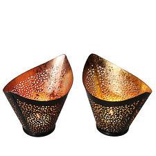 2er-Set Teelichthalter mit goldener & kupferfarbener Beschichtung