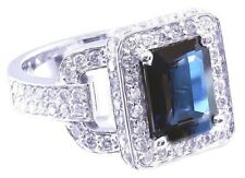 14K WHITE GOLD SAPPHIRE AND ROUND CUT DIAMONDS RING ART DECO ANTIQUE 4.00CTW