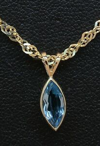 """9 Carat Yellow Gold Marquise Shaped Blue Topaz Pendant & Chain 18"""" (80.21.130)"""