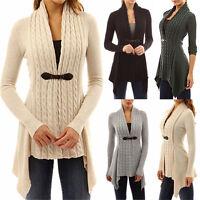 Mujer Largo Suéter De Punto Jersey mujer de punto suéter cárdigan abrigo abrigo