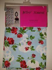 Betsey Johnson Fabric Shower Curtain Aqua Blue Flowers and Skulls ! Brand New!