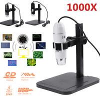Digital 8 LED USB 2MP 1000X Zoom Microscope Biological Endoscope Camera w/ Stand