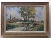 Tableau Post-Impressionniste Beau Paysage du Canal de Berry Huile Signé