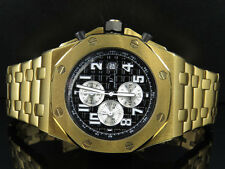 Men's Solid Yellow Gold Finish Steel Black Dial Chronograph Watch