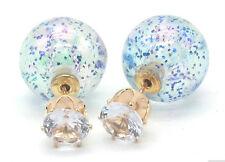 NEW DOUBLE PEARL BLUE GLITTER SPARKLE BALL BEAD CRYSTAL STUD EARRINGS