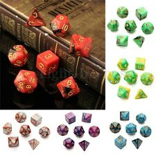 New 7pc/Set TRPG Games Gaming Dices  D4-D20 Multi-sided Dices 6color Double colo
