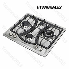 """Windmax 23"""" Curve Stainless Steel 4 Burners Stove NG/LPG Gas Hob Cooktops Cooker"""