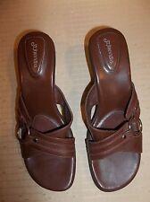 ST. JOHN'S BAY Brown Leather  Women's SLIDES SANDALS Shoes SIZE 9M
