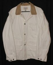 Ralph Lauren Polo Denim Coat Vintage Hunting Style White Denim Heavy Large