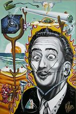 Surrealist Painting of Salvador Dali with 3D mustache by Bill Foss