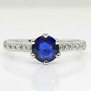 $2,499 SOLID 14K White Gold 1.12ctw Blue Sapphire & I-SI Diamond Ring Size 7