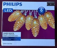 PHILIPS LED 6 AMBER GLASS PINE CONE BATTERY Operated Warm White LIGHTS New