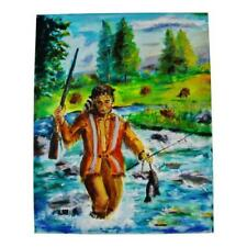 Oil on Canvas Painting of Native American Indian Fishing