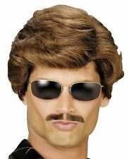80s Mens Short Brown Wig Used Car Salesman Fancy Dress George Michael Adult YMCA
