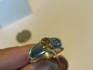 Beautiful Natural citrine 925 Sterling Silver Ring 6g 💛🌷