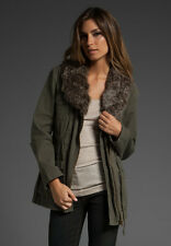 NEW $200 Sanctuary Army Green Lux Parka Jacket Coat with Faux Fur Trim Sz Large