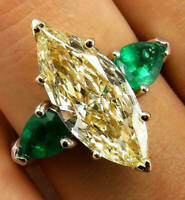 925 Silver Natural Fancy Yellow Marquise Green Emerald Wedding Ring 4.63 CT CZ
