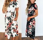 AU Womens Floral Short Sleeve Dress Ladies Casual Party Summer Beach Long Dress