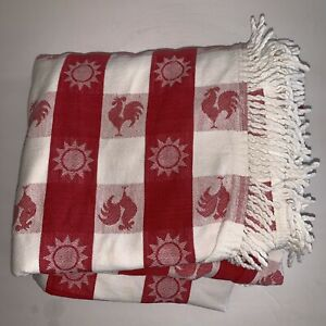 Vintage 45 x 46 Pink /& White Gingham DAMASK Tablecloth Cross Stitch Embroidery Chicken Scratch Fringed Checkered Table Cloth Runner Tea