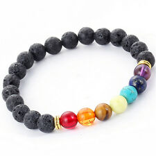 Reiki 7 Gemstone Chakra Lava Rock Stone Spacer Healing Bead Bangle Bracelet ETH