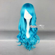 Lolita Blue Long Curly Heat Resistant Cosplay Women Party Hair Wig + Wig Cap