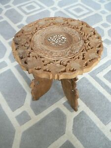 Vintage Indian Hand Carved Wood Folding Table Mother of Pearl Inlay Plant Stand