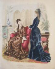 GRAVURE EN COULEUR 19è MODE ILLUSTREE 1877 N° 3 TOILETTES MADAME BREANT CASTEL
