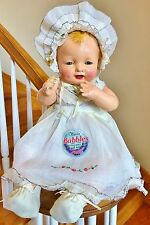 "Rare 1924 Antique Effanbee Bubbles composition Dimples Baby doll 19"" Original"