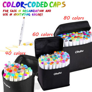 Ohuhu200/100/60/40 Colors Dual Tips Art Sketch Twin Marker Pens Highlighters&Bag