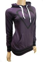 ladies womans hoodie pull over gym jogging purple heart size 8 10 12 14 16 new