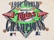 Vintage '91 Minnesota Twins World Series Champs White Starter XL T Shirt 90s MLB
