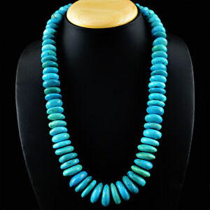 1130 Cts Earth Mined Single Strand Turquoise Rondelle Beads Necklace JK 04KY6