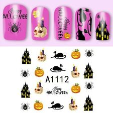 Nail Art Water Decals Stickers Halloween Pumpkins Scary House Cat Spider A1-112H