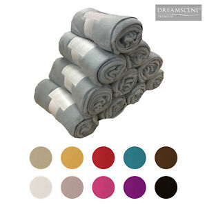 Wholesale 10 x Plain Fleece Blanket Bulk Warm Sofa Throw Over 120 x 150cm Joblot