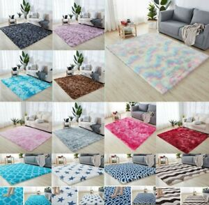 Comfy Tie Dye Fluffy Anti-Slip Shaggy Rug Mat Living Room Floor Bedroom H-300
