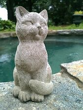 Cute sitting cat statue, concrete garden decor, cat memorial statue, concrete ca