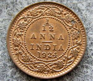 INDIA BRITISH GEORGE V 1924 1/12 ANNA, BOMBAY MINT, UNC