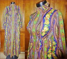 VTG 70s Paisley Scarf Print Festival BOHEMIAN Chic Empire Maxi DRESS Gown