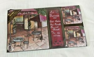Unopened 4 Placemats & 4 Coasters Set by Simply. Cafe des Amis French Theme